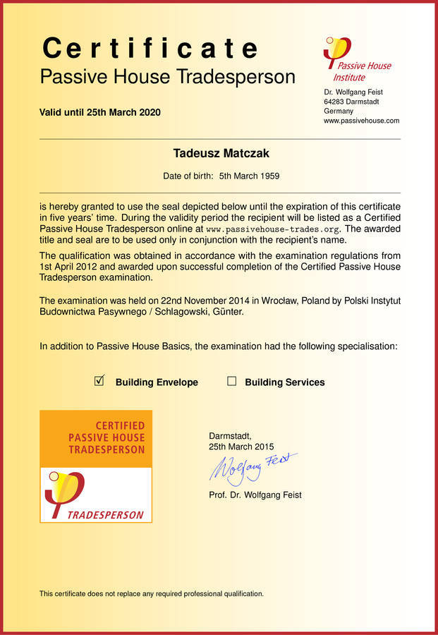 Passive house certification - arrived ! | Producent domów ...