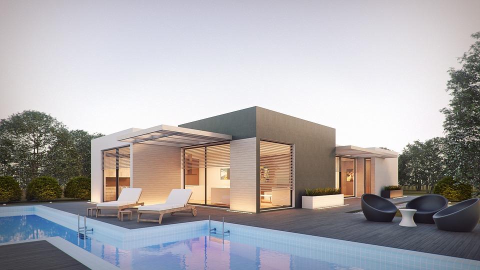 nowoczesny dom modułowy z basenem
